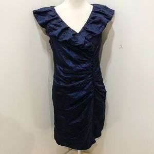 RM RICHARDS 10 Cocktail Dress Blue Shimmer Sheath